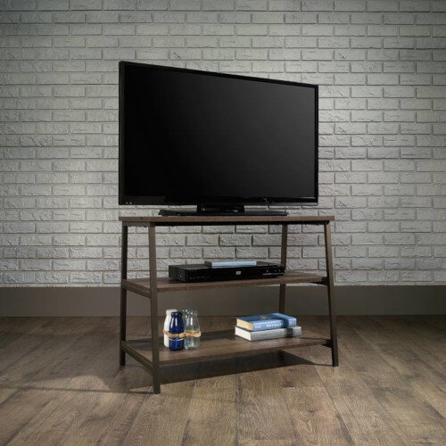 Industrial Style TV Stand / Trestle Shelving Unit W800xD455xH610mm Smoked Oak Finish