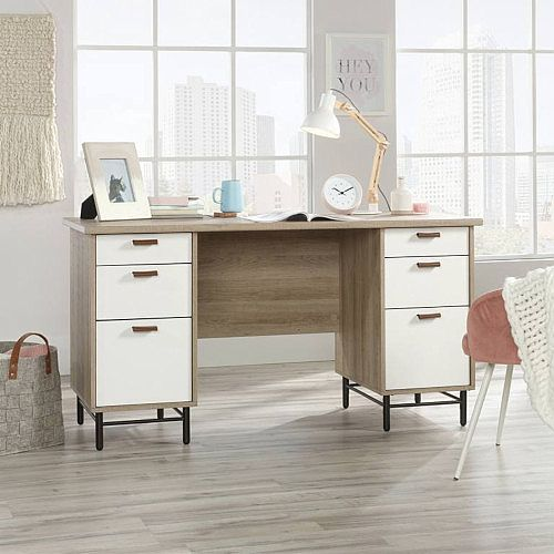 Avon Leather Handled Home Office Desk W1430mm Sky Oak Finish &White Drawers