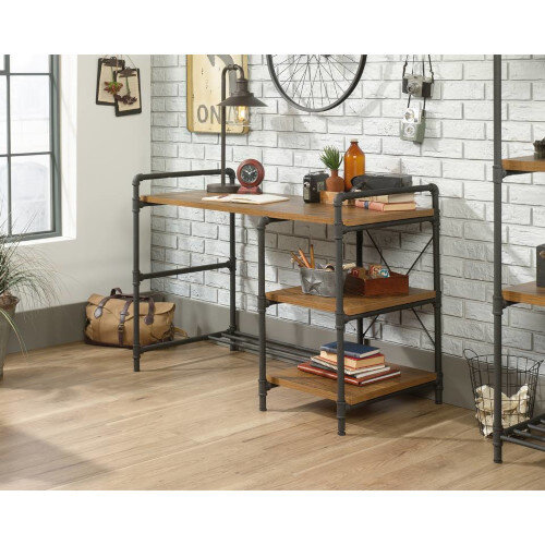 """Iron Foundry Home Office Desk With Contemporary """"Pipework"""" Frame &Checked Oak Finish W1206mm"""