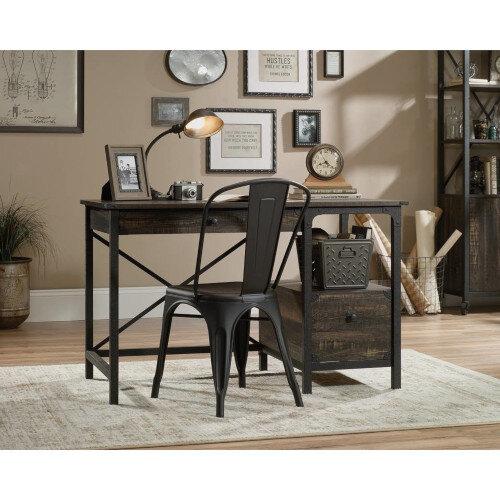 Steel Gorge Home Office Desk Vintage Effect Carbon Oak Finish W1206mm