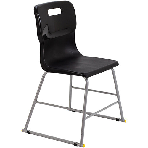 Titan High Classroom Stool with Backrest Size 3 445mm Seat Height (Ages: 6-8 Years) Polly Lipped Seat with Skid Base Black T60-BK - 5 Year Guarantee