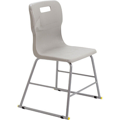 Titan High Classroom Stool with Backrest Size 3 445mm Seat Height (Ages: 6-8 Years) Polly Lipped Seat with Skid Base Grey T60-GR - 5 Year Guarantee
