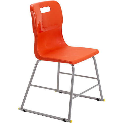 Titan High Classroom Stool with Backrest Size 3 445mm Seat Height (Ages: 6-8 Years) Polly Lipped Seat with Skid Base Orange T60-O - 5 Year Guarantee