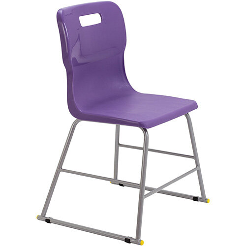 Titan High Classroom Stool with Backrest Size 3 445mm Seat Height (Ages: 6-8 Years) Polly Lipped Seat with Skid Base Purple T60-P - 5 Year Guarantee
