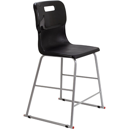 Titan High Classroom Stool with Backrest Size 4 560mm Seat Height (Ages: 8-11 Years) Polly Lipped Seat with Skid Base Black T61-BK - 5 Year Guarantee