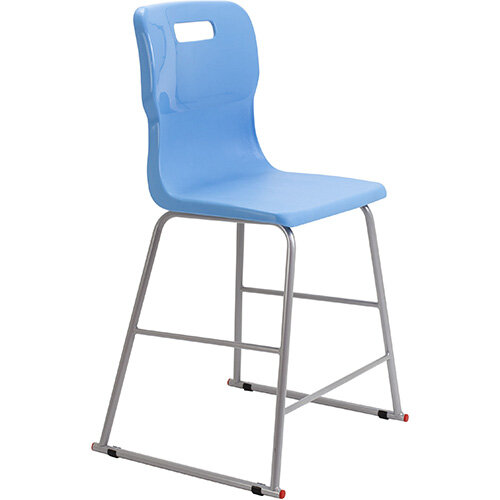 Titan High Classroom Stool with Backrest Size 4 560mm Seat Height (Ages: 8-11 Years) Polly Lipped Seat with Skid Base Sky Blue T61-CB - 5 Year Guarantee