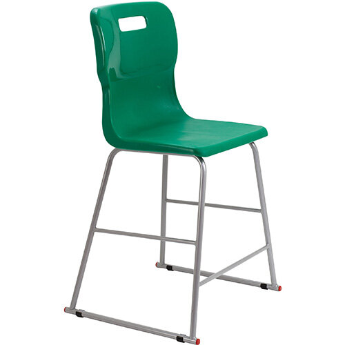 Titan High Classroom Stool with Backrest Size 4 560mm Seat Height (Ages: 8-11 Years) Polly Lipped Seat with Skid Base Green T61-GN - 5 Year Guarantee