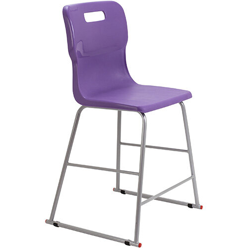 Titan High Classroom Stool with Backrest Size 4 560mm Seat Height (Ages: 8-11 Years) Polly Lipped Seat with Skid Base Purple T61-P - 5 Year Guarantee