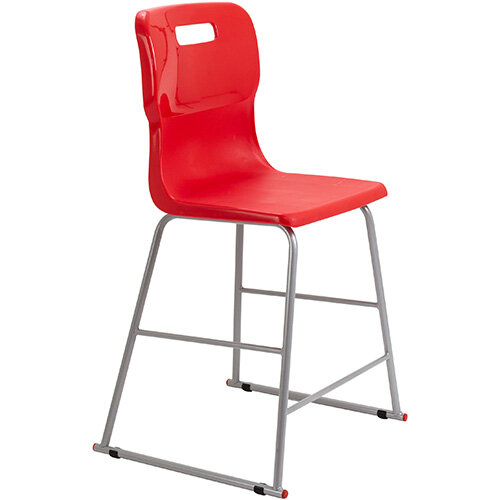 Titan High Classroom Stool with Backrest Size 4 560mm Seat Height (Ages: 8-11 Years) Polly Lipped Seat with Skid Base Red T61-R - 5 Year Guarantee