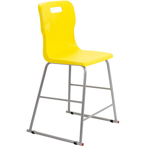 Titan High Classroom Stool with Backrest Size 4 560mm Seat Height (Ages: 8-11 Years) Polly Lipped Seat with Skid Base Yellow T61-Y - 5 Year Guarantee