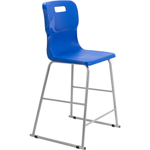 Titan High Classroom Stool with Backrest Size 5 610mm Seat Height (Ages: 11-14 Years) Polly Lipped Seat with Skid Base Blue T62-B - 5 Year Guarantee