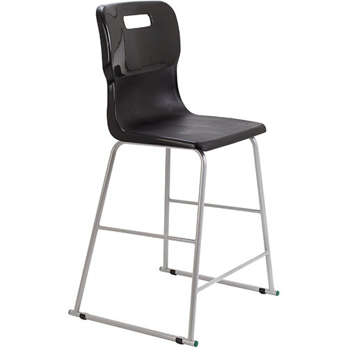 Titan High Classroom Stool with Backrest Size 5 610mm Seat Height (Ages: 11-14 Years) Polly Lipped Seat with Skid Base Black T62-BK - 5 Year Guarantee
