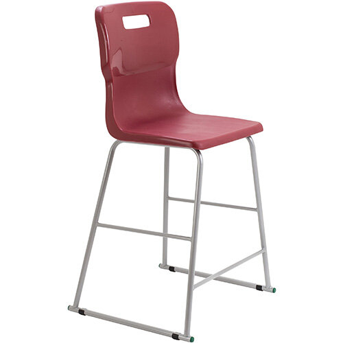 Titan High Classroom Stool with Backrest Size 5 610mm Seat Height (Ages: 11-14 Years) Polly Lipped Seat with Skid Base Burgundy T62-BU - 5 Year Guarantee
