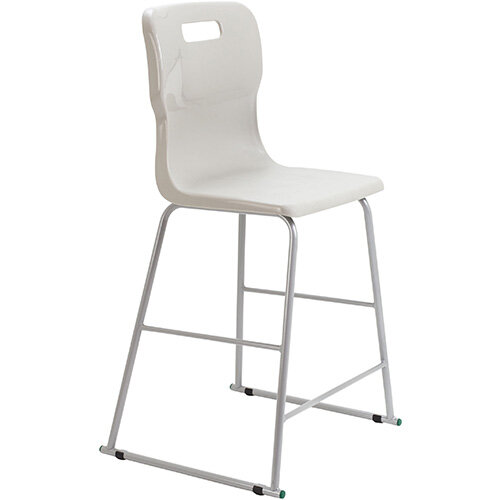 Titan High Classroom Stool with Backrest Size 5 610mm Seat Height (Ages: 11-14 Years) Polly Lipped Seat with Skid Base Grey T62-GR - 5 Year Guarantee