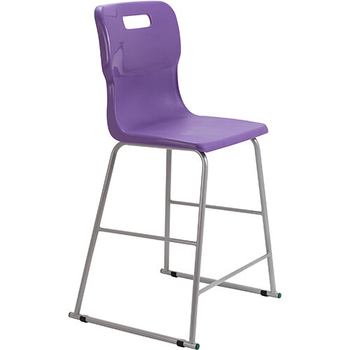 Titan High Classroom Stool with Backrest Size 5 610mm Seat Height (Ages: 11-14 Years) Polly Lipped Seat with Skid Base Purple T62-P - 5 Year Guarantee
