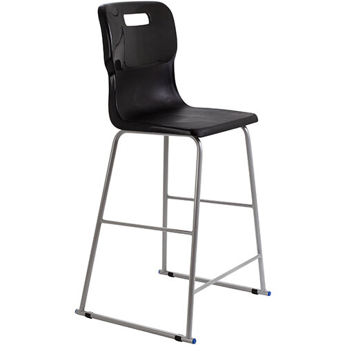 Titan High Classroom Stool with Backrest Size 6 685mm Seat Height (Ages: 14+ Years) Polly Lipped Seat with Skid Base Black T63-BK - 5 Year Guarantee