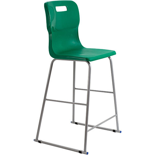 Titan High Classroom Stool with Backrest Size 6 685mm Seat Height (Ages: 14+ Years) Polly Lipped Seat with Skid Base Green T63-GN - 5 Year Guarantee