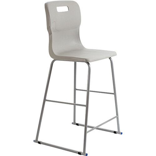 Titan High Classroom Stool with Backrest Size 6 685mm Seat Height (Ages: 14+ Years) Polly Lipped Seat with Skid Base Grey T63-GR - 5 Year Guarantee