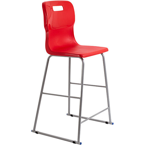 Titan High Classroom Stool with Backrest Size 6 685mm Seat Height (Ages: 14+ Years) Polly Lipped Seat with Skid Base Red T63-R - 5 Year Guarantee