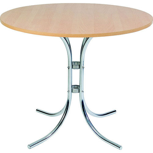 Circular 900mm Bistro Table With Light Wood Wipe Clean Top &Elegant Chrome Base
