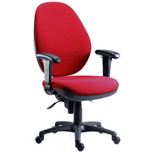 Syncrotek Super Large Ergonomic Task Operator Office Chair In Burgundy Fabric