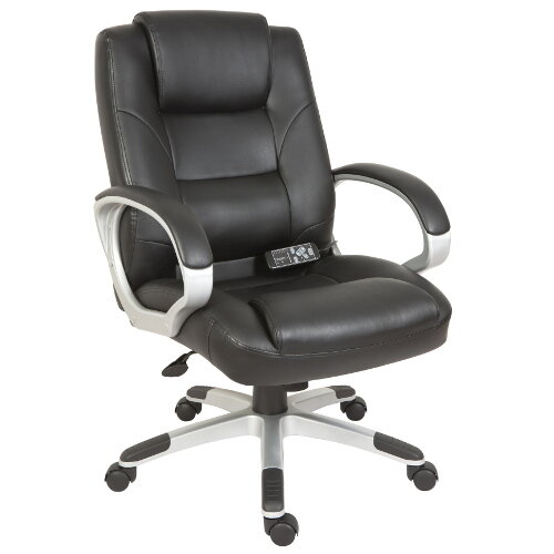 Lumbar Massage Executive Office Chair Upholstered In Supple Faux Leather In Black