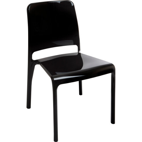 Clarity Translucent Polycarbonate Chair In High Gloss Black Pack of 4
