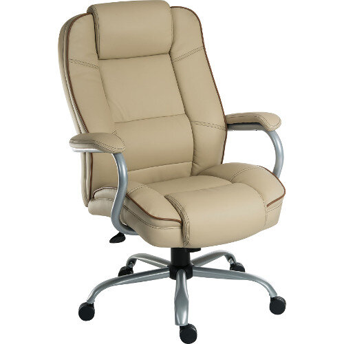 Goliath Duo Heavy Duty Bonded Leather Faced Executive Office Chair In Cream