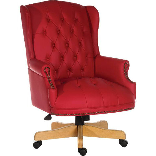 Chairman Rouge Executive Leather Faced Office Chair With Light Wood Finish 5 Castor Base Red