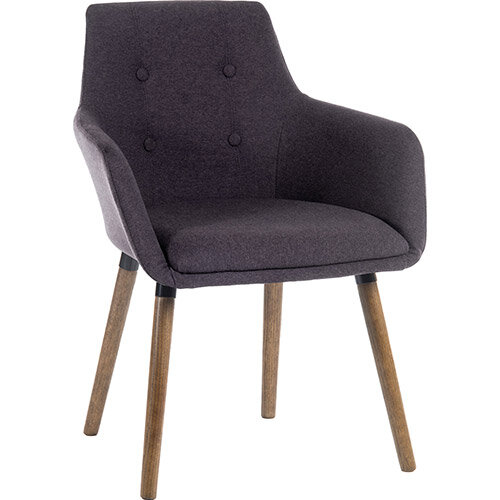 BECKY Four Legged Armchair With Modern Dark Oak Coloured Legs In Graphite Pack of 2