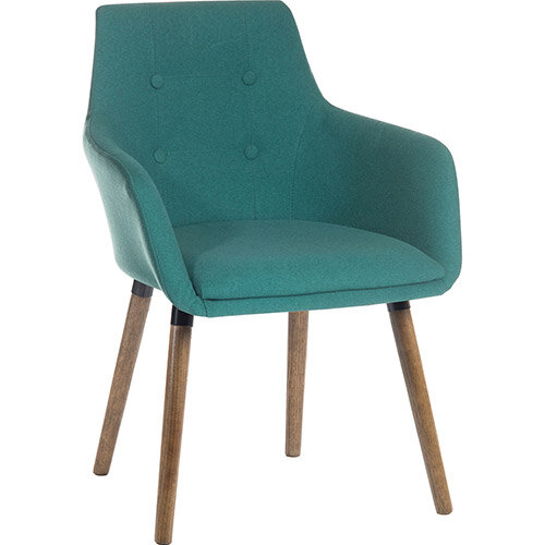 BECKY Four Legged Armchair With Modern Dark Oak Coloured Legs In Jade Green Pack of 2