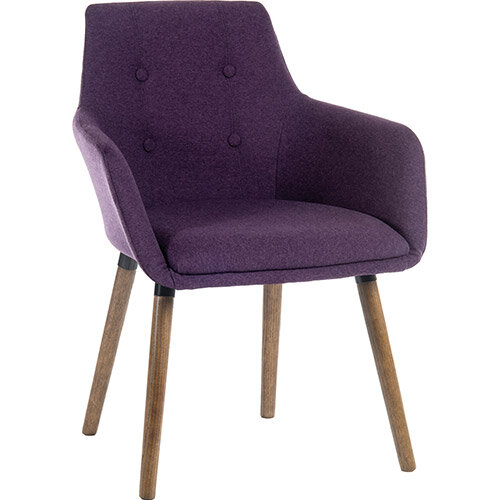 BECKY Four Legged Armchair With Modern Dark Oak Coloured Legs In Plum Pack of 2