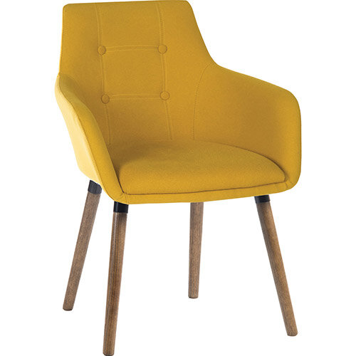 BECKY Four Legged Armchair With Modern Dark Oak Coloured Legs In Mustard Yellow Pack of 2
