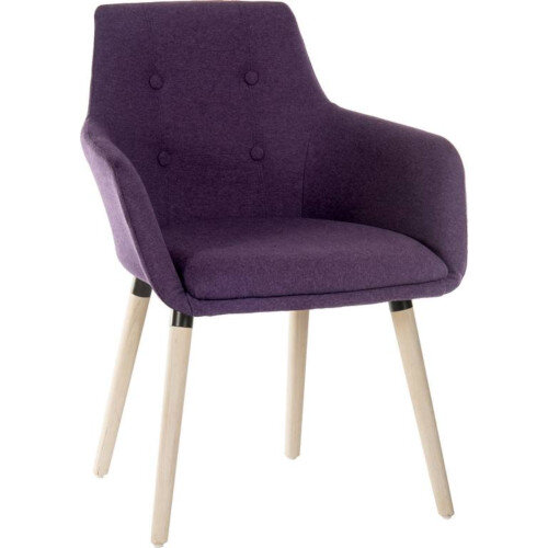 BECKY Four Legged Armchair With Modern Oak Coloured Legs In Plum Pack of 2
