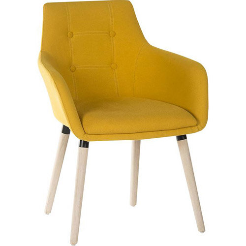 BECKY Four Legged Armchair With Modern Oak Coloured Legs In Mustard Yellow Pack of 2