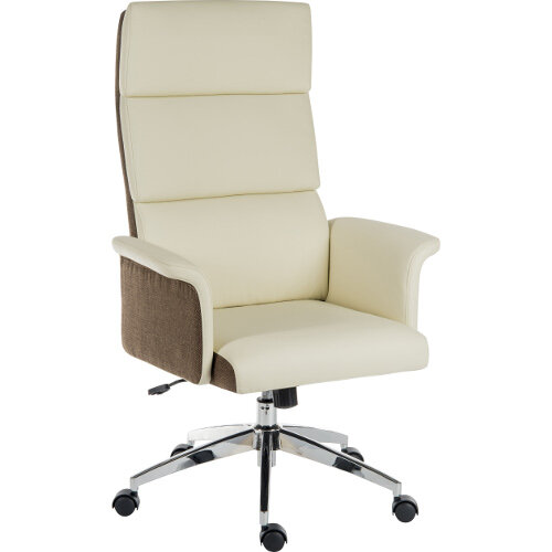 Elegance High Gull Wing Armed High Back Executive Office Chair With Supple Leather Look Upholstery In Cream