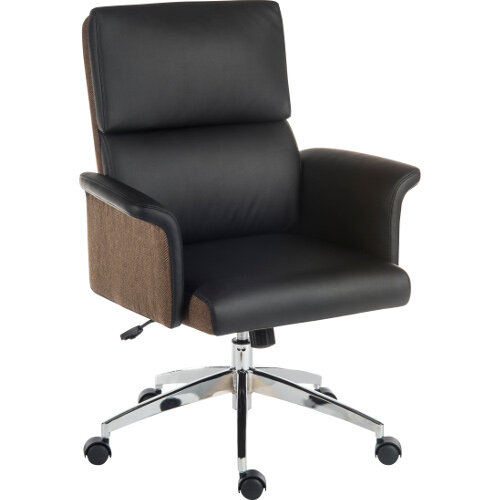 Elegance Medium Gull Wing Armed Medium Back Executive Office Chair With Supple Leather Look Upholstery In Black
