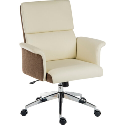 Elegance Medium Gull Wing Armed Medium Back Executive Office Chair With Supple Leather Look Upholstery In Cream