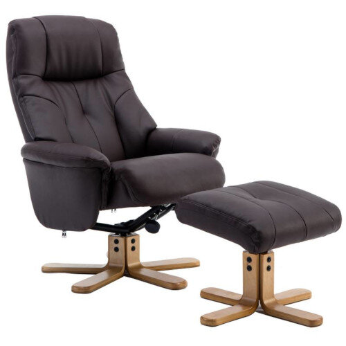 Denver Luxury Recliner Leather Look  Armchair With Matching Footstool Brown With Natural Wood Finish Base