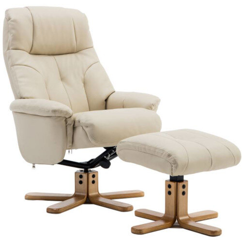 Denver Luxury Recliner Leather Look  Armchair With Matching Footstool Cream With Natural Wood Finish Base