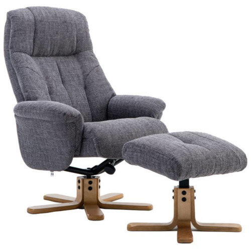 Denver Luxury Recliner Fabric Upholstered Armchair With Matching Footstool Greystone With Natural Wood Finish Base