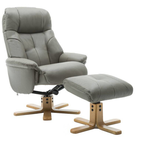 Denver Luxury Recliner Leather Look  Armchair With Matching Footstool Grey With Natural Wood Finish Base