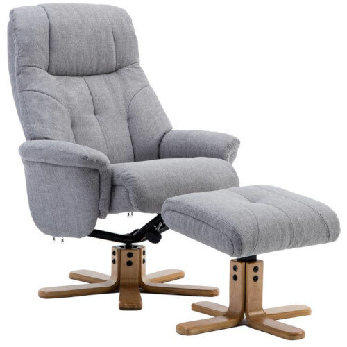 Denver Luxury Recliner Fabric Upholstered Armchair With Matching Footstool Light Grey With Natural Wood Finish Base