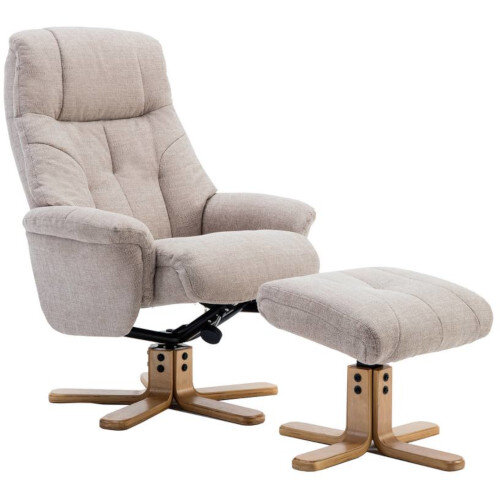 Denver Luxury Recliner Fabric Upholstered Armchair With Matching Footstool Oatmeal With Natural Wood Finish Base