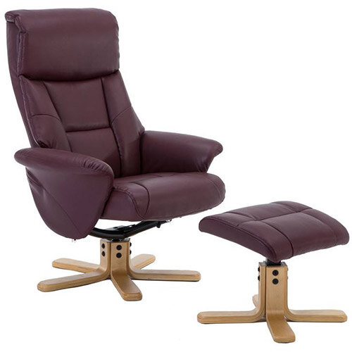 Montreal Luxury Recliner Leather-look Fabric Upholstered Armchair With Matching Footstool Burgundy With Natural Wood Finish Base