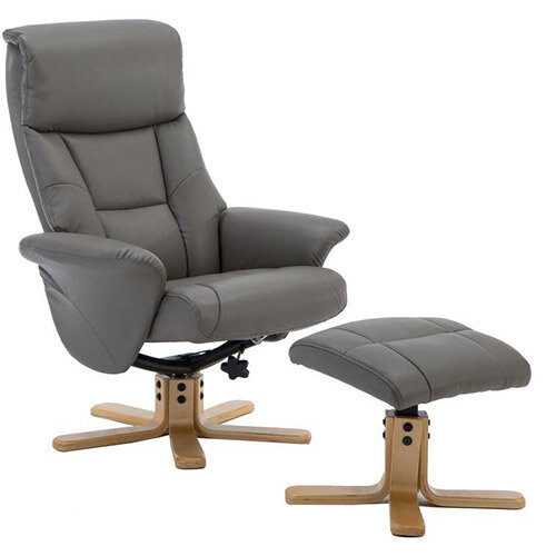 Montreal Luxury Recliner Leather-look Fabric Upholstered Armchair With Matching Footstool Grey With Natural Wood Finish Base