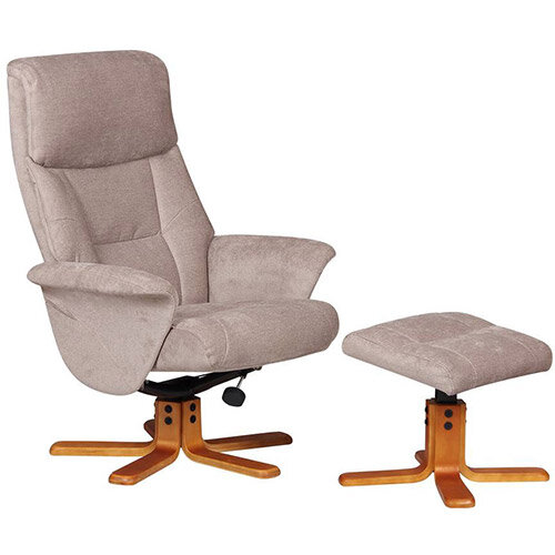 Montreal Luxury Recliner Fabric Upholstered Armchair With Matching Footstool Cream Fabric With Cherry Wood Finish Base