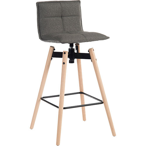 Spin Barstool Light Wood Frame &Grey Seat