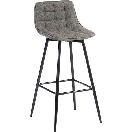 Quilt Barstool Black Metal Frame &Grey Seat