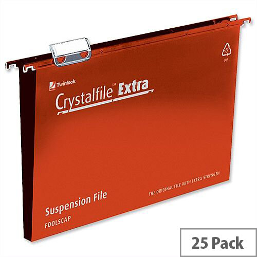 Rexel Crystalfile Extra Foolscap Vertical Suspension File Red Plastic 30mm Pack 25